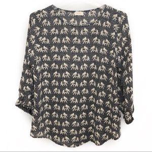 Pixley elephant print top, black & tan, small